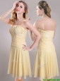 Elegant Applique Chiffon Yellow Short Prom Dress with Side Zipper