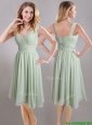 Exclusive Beaded and Ruched Apple Green V Neck Dama Dresses for Quinceanera in Chiffon