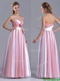 Hot Sale Bowknot Strapless White and Pink Dama Dress with Side Zipper