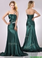 Modest One Shoulder Dark Green Prom Dress in Elastic Woven Satin
