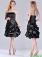 New Arrivals Strapless Taffeta Black Dama Dress in Knee Length