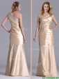 New Column Beaded Decorated One Shoulder Prom Dress in Champagne