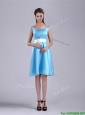 Simple Belted and Ruched Aqua Blue Bridesmaid Dress in Knee Length