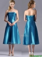 2016 Luxurious A Line Strapless Tea Length Bridesmaid Dress in Teal