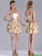 Beautiful Strapless Beaded and Bubble Short Bridesmaid Dress in Champagne