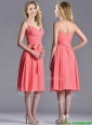 Best Spaghetti Straps Watermelon Bridesmaid Dress with Ruching and Bowknot