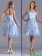 Cheap Empire Sweetheart Bowknot Lavender Dama Dresses for Quinceanera in Knee Length