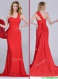 Column One Shoulder Watteau Train Coral Red Prom Dress with Side Zipper
