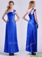 Discount Royal Blue Ankle Length Prom Dress with Beading and Pleats