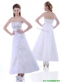 Elegant Ankle Length White Prom Dress with Embroidery and Beading