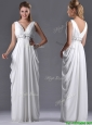 Elegant Empire V Neck Chiffon White Bridesmaid Dress for Graduation