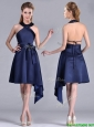 Elegant Halter Top Asymmetrical Navy Blue Mother of the Bride Dress in Satin