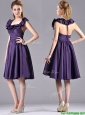Elegant Halter Top Backless Short Bridesmaid Dress in Dark Purple