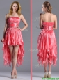 Elegant Strapless High Low Beaded Decorated Waist Prom Dress in Coral Red