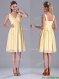 Empire Light Yellow V Neck Knee Length Short Bridesmaid Dress with Ruching