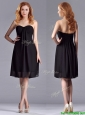 Empire Sweetheart Knee-length Short Black Bridesmaid Dress for Homecoming