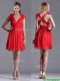 Exclusive V Neck Criss Cross Bridesmaid Dress with Ruching and Bowknot