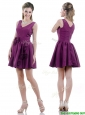 Exquisite V Neck Taffeta Purple Mother of the Bride Dress with Handcrafted Flowers