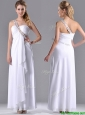 Fashionable Empire One Shoulder Chiffon Side Zipper White Bridesmaid Dress with Beading