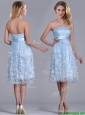 Gorgeous Empire Tea Length Applique Tulle Bridesmaid Dress in Light Blue