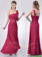 Hot Sale One Shoulder Red Bridesmaid Dress with Appliques and Ruching