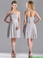 Lovely Empire Strapless Chiffon Grey Bridesmaid Dress with Hand Made Flower