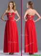 Luxurious Applique with Sequins Red Prom Dress in Ankle Length