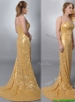 Luxurious Column Strapless Sequined Gold Prom Dress with Brush Train