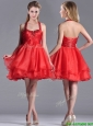 Modern Beaded Decorated Top and Halter Top Bridesmaid Dress in Organza