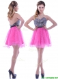 Modern Sequined Decorated Bodice Organza Hot Pink Prom Dress with Backless