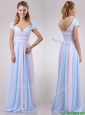 New Deep V Neckline Chiffon Bridesmaid Dress in Baby Pink and Light Blue