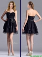 New Style Tulle Black Short Prom Dress with Beading and Belt