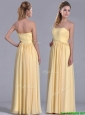 New Style Yellow Empire Long Bridesmaid Dress with Beaded Bodice