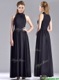 Simple Empire Ankle Length Chiffon Black Mother of the Bride Dress with High Neck