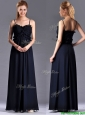 Simple Empire Straps Chiffon Ruching Navy Blue Bridesmaid Dress for Holiday