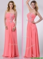 Watermelon Empire Strapless Chiffon Beading Long Prom Dress for Graduation