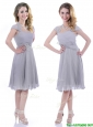 Elegant Cap Sleeves Tea Length Grey Mother of the Bride Dress with Pleats