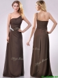Low Price One Shoulder Taffeta Beaded Mother of the Bride Dress in Brown