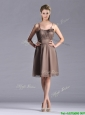 Popular Chiffon Brown Short Mother of the Bride Dress with Spaghetti Straps