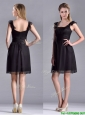 Simple Empire Square Chiffon Black Mother of the Bride Dress with Cap Sleeves