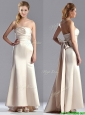 Cheap Off White Column Strapless Mother of the Bride Dress with Brush Train