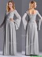 Classical Square Beaded and Ruched Mother of the Bride Dress with Long Sleeves