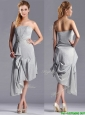 Discount Side Zipper Strapless Silver Mother of the Bride Dress in Asymmetrical