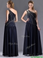 Beautiful Column One Shoulder Beaded Mother of the Bride Dress in Navy Blue