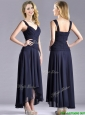 Beautiful Straps Black Chiffon Mother of the Bride Dress with High Low