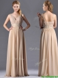 Champagne Empire Straps Beaded Chiffon Mother of the Bride Dress for Graduation
