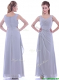 Cheap Column V Neck Ankle-length Ruching Mother of the Bride  Dress in Grey