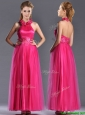 Exclusive Hot Pink Mother of the Bride Dress with Handcrafted Flowers Decorated Halter Top