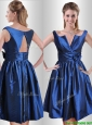 Exquisite Open Back Hand Crafted Flower Mother of the Bride Dress in Royal Blue