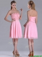 Latest Side Zipper Strapless Pink Short Mother of the Bride Dress with Beaded Bodice